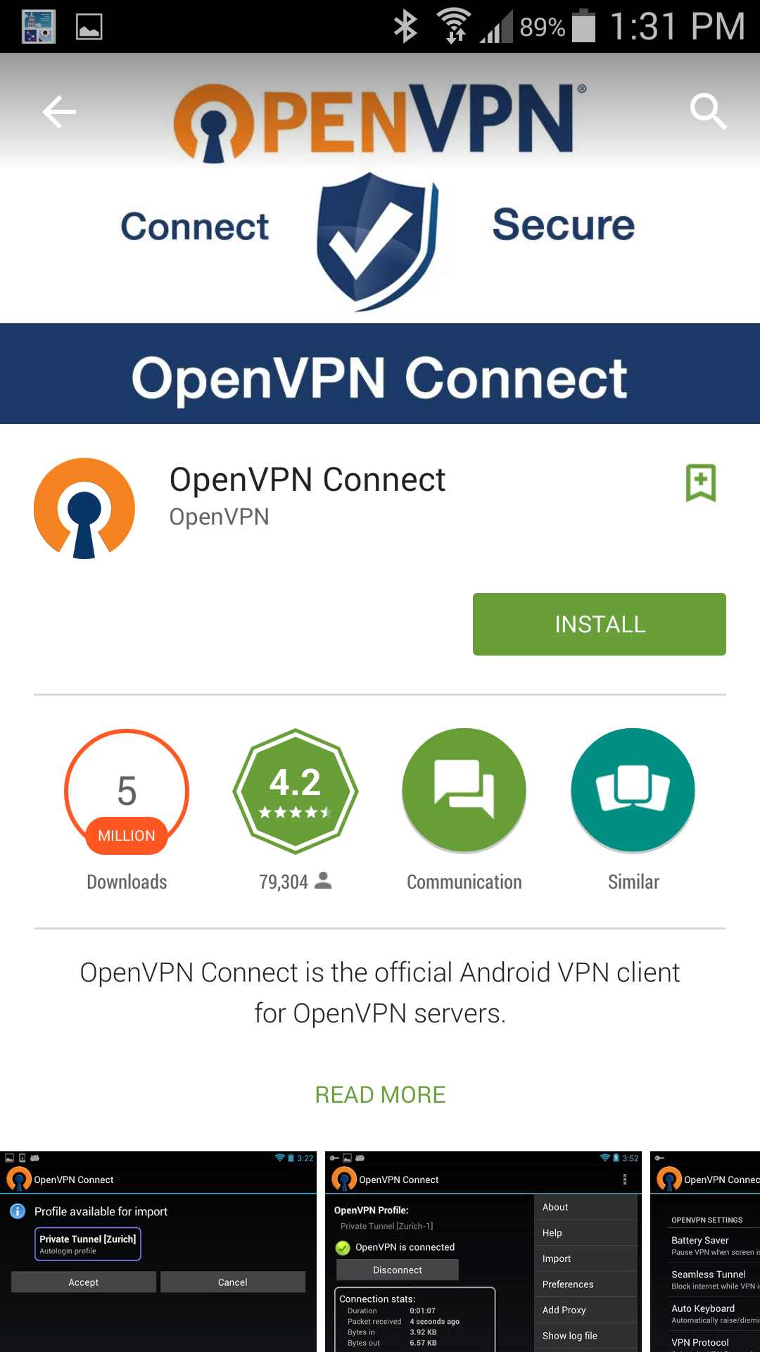 Install OpenVPN App from Google Play Store