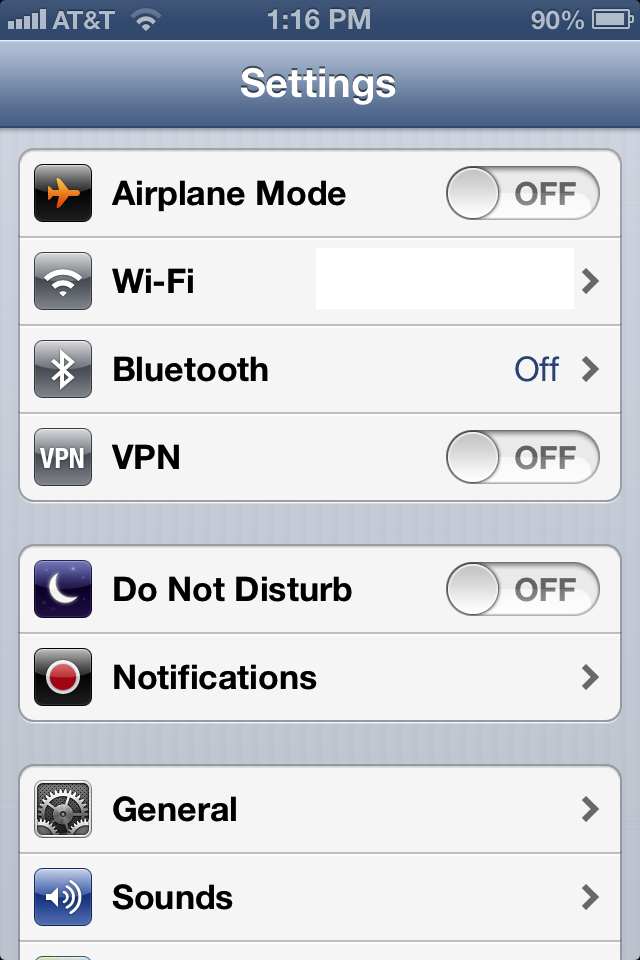 VPN toggle switch in iOS Settings