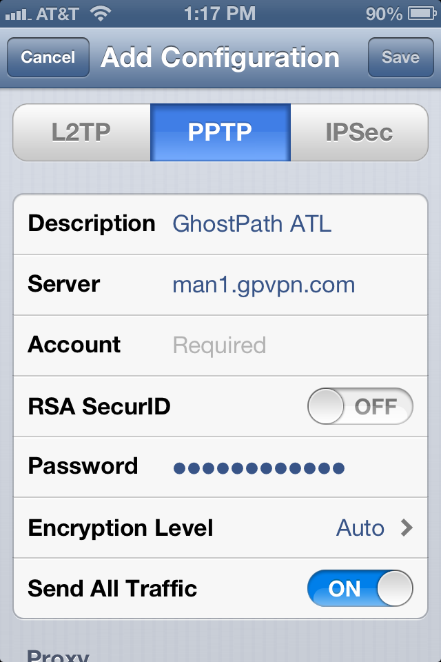 The screen where you enter all of your VPN information into iOS