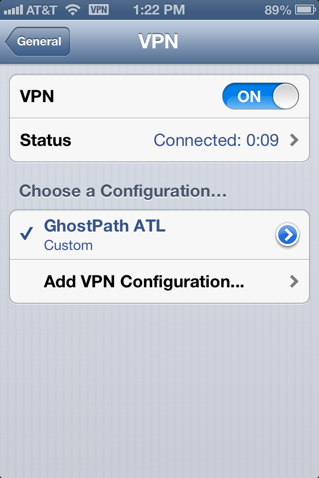 Successful VPN connection in iOS
